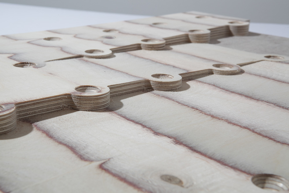 Architectural model of inclined sloped terraces machined from ply