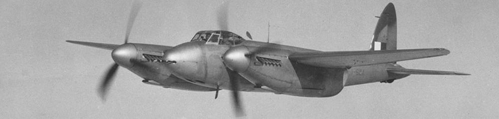Engineered wood construction second world war plane Dehavilland Mosquito in flight