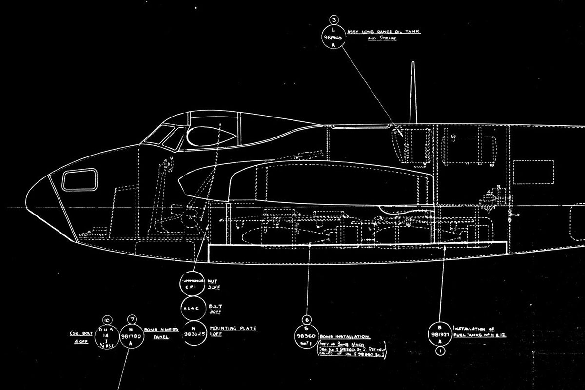 Blueprint engineering drawing of the Dehavilland mosquito's plywood fuselage