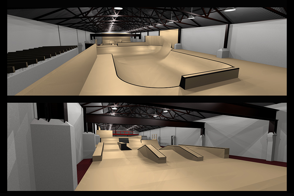 A CAD rendered view of Mags on Ramps, an indoor skatepark in Halifax, West Yorkshire. Showing the bowl room and the street style section.