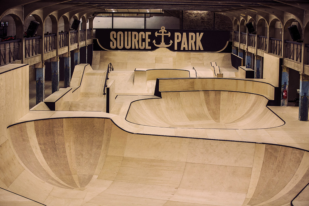 Overhead view of the Source Park skatepark facility in Hastings, East Sussex.